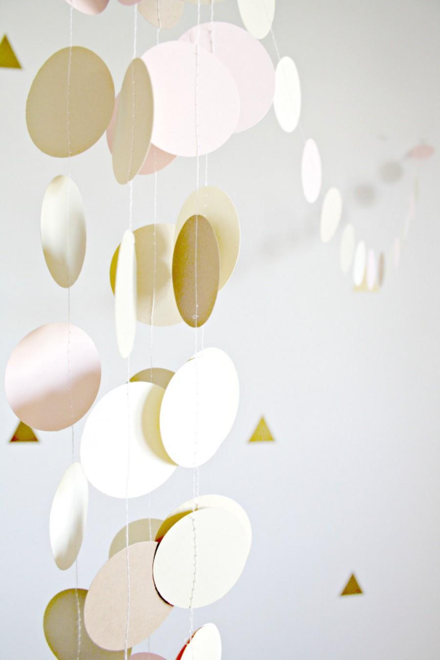 Gold, Blush Pink, Champagne Circle Garland - Gold And Blush Wedding ...