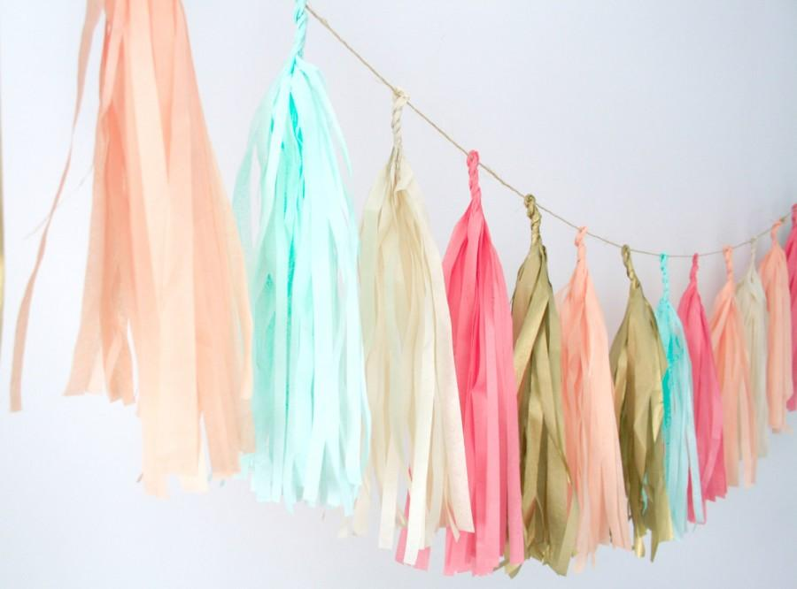 Wedding - Coral, Peach, Mint, Gold and Nude Tassel garland .  Wedding Decor . Party Decoration . Nursery Mobile.