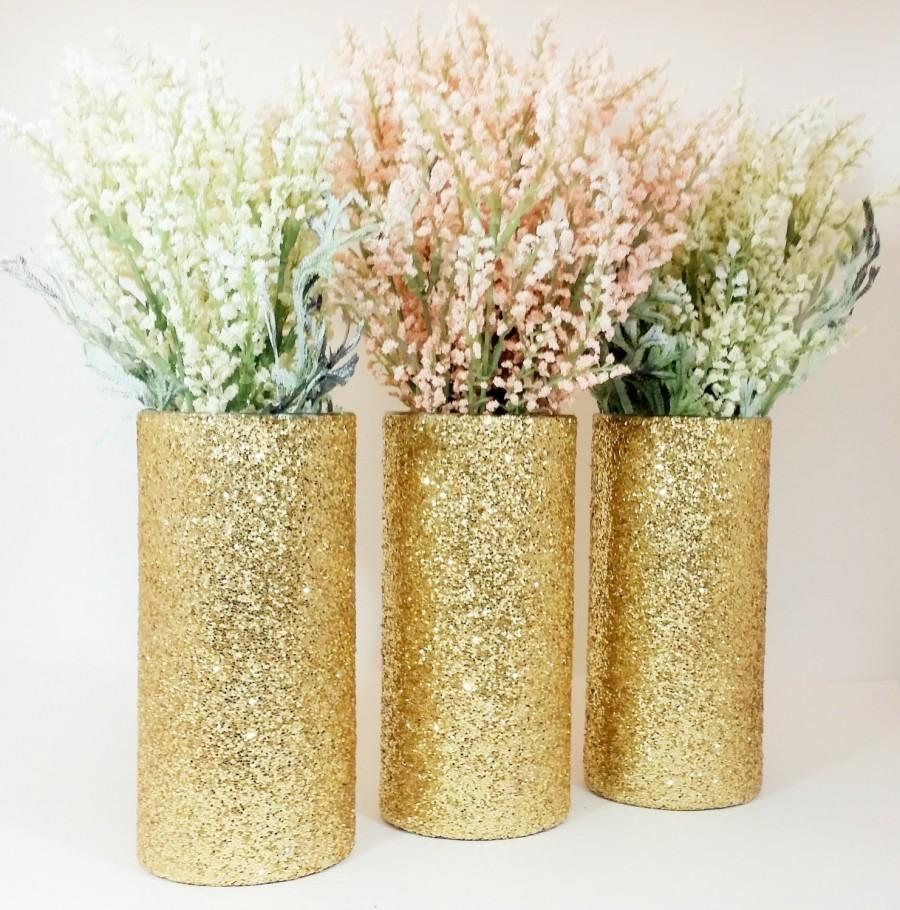 Wedding centerpiece gold decor cylinder vase