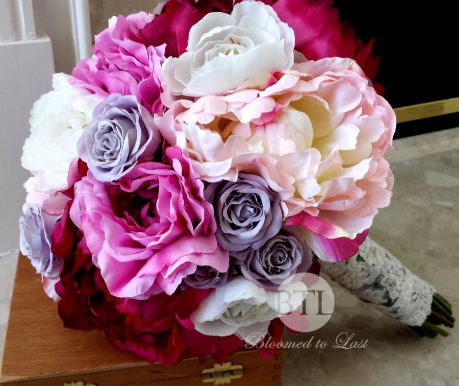 Свадьба - 17 pc Premium Silk Summer Peony & Rose Wedding Set with a in orchid, raspberry, pink, lavender, cream