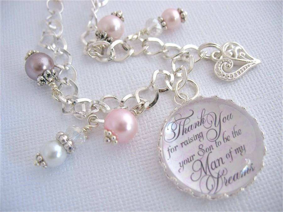 Hochzeit - MOTHER of the GROOM Gift Thank You for Raising the Man of my Dreams BRACELET Gift Pink Damask Mother in Law Gift Beach Jewelry Wedding Bride