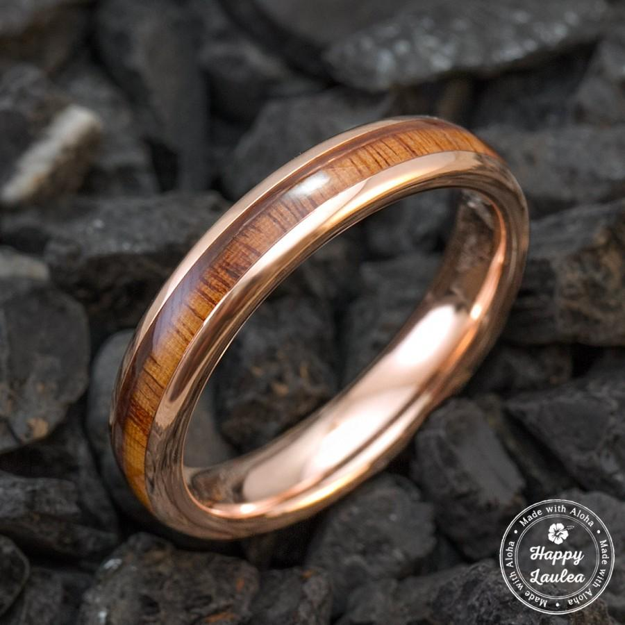 Rose Gold Ion Plated Tungsten Carbide Wedding Ring With Hawaiian Koa