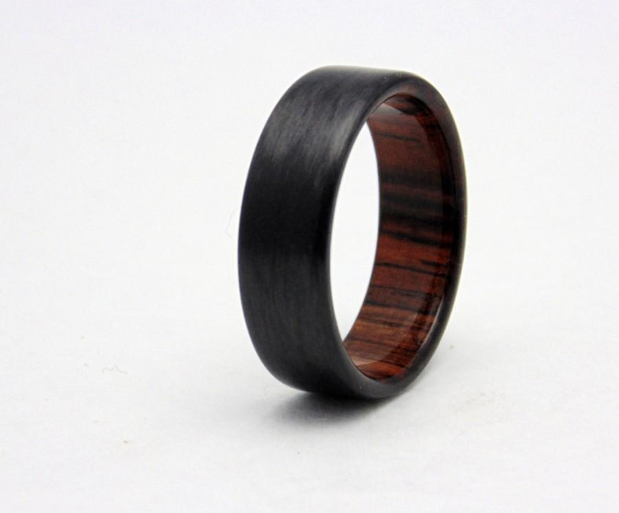 Hochzeit - Carbon fiber wedding band with Cocobolo wood, Handmade carbon fiber and wood ring