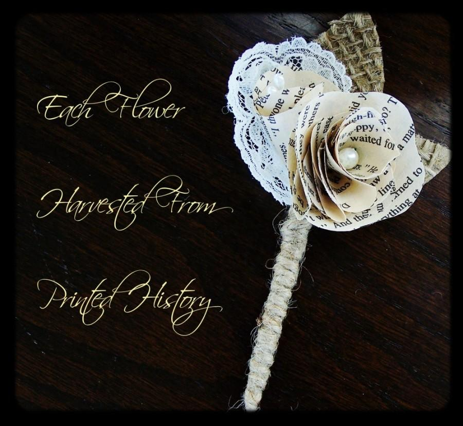 Mariage - Book Page Boutonniere -Rustic Boutonniere -Paper Boutineer -Paper Rose -Eco Wedding-MSN LIVING FEATURED