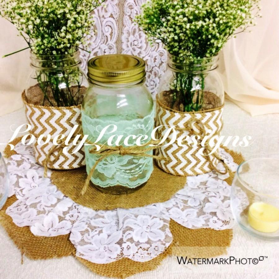 Mariage - Mint Lace Trim, Mason Jars Lace, 4 inch wide, 4 yards, table decor, DIY, Mint wedding decor , Rustic decor, Crafts/Etsy finds