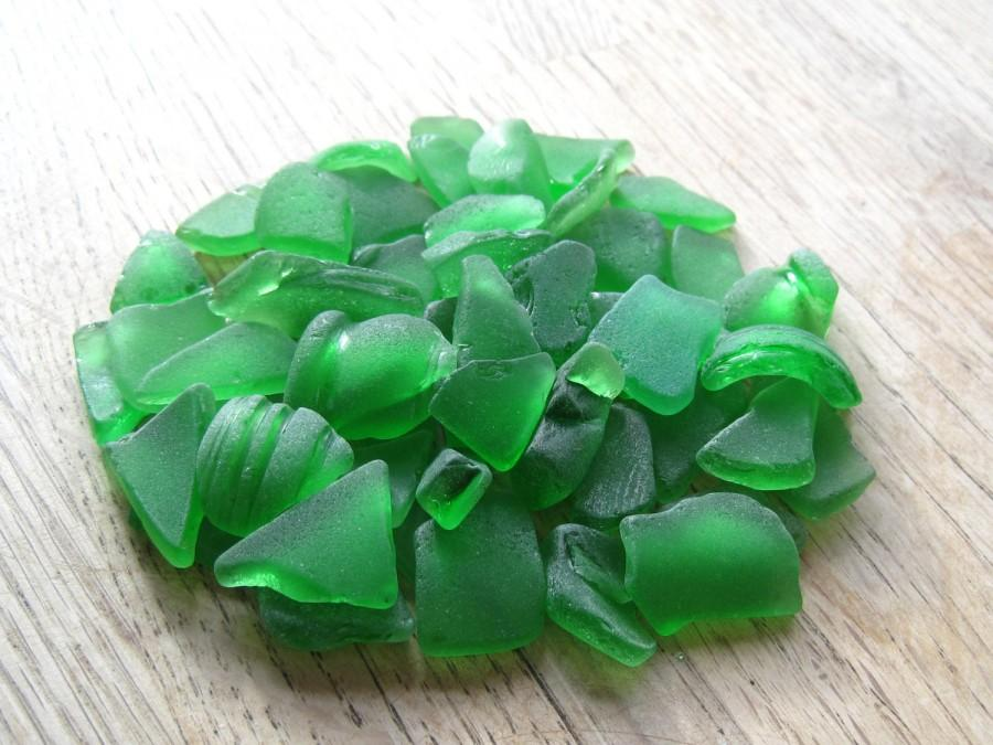 Hochzeit - Bulk Sea Glass Extra Large Green Beach Wedding Decor  - BG.2