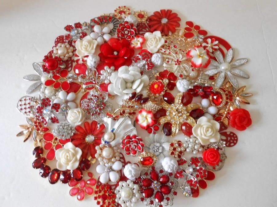 Brooch Bouquet Diy Kit 65 Pc Sweetheart Rose Red White Ivory Gold