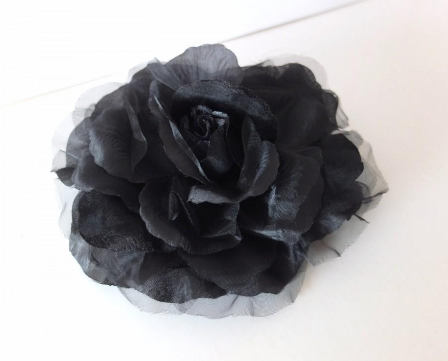 Hochzeit - Large Organza Flower Brooch, BLACK, Sash Flower, Headpiece, Dress accessories