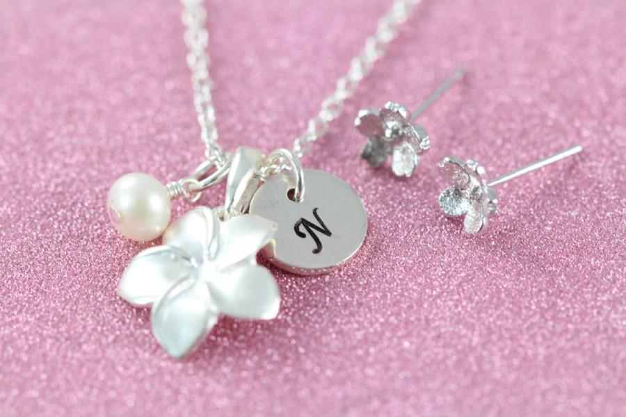 Wedding - Personalized Flower Girl Jewelry Set Necklace Earrings 925 Sterling Silver