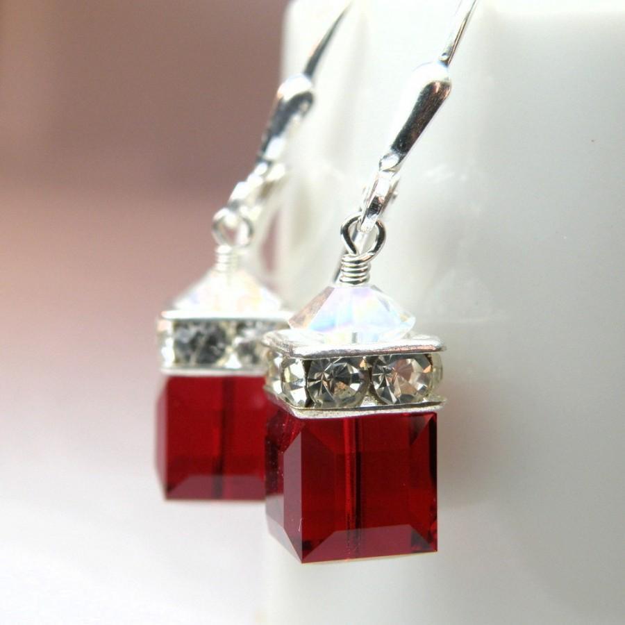 Свадьба - Garnet Red Crystal Earrings, Swarovski Cube Drop Earrings, Red Dangle Bridesmaid, Wedding Jewelry, January Birthday, Christmas Birthstone
