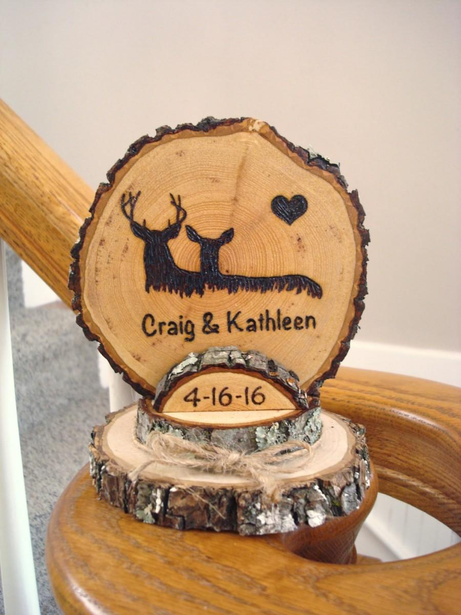 Свадьба - Rustic Deer Wedding Cake Topper / Woodland Wedding Topper / Personalized Topper