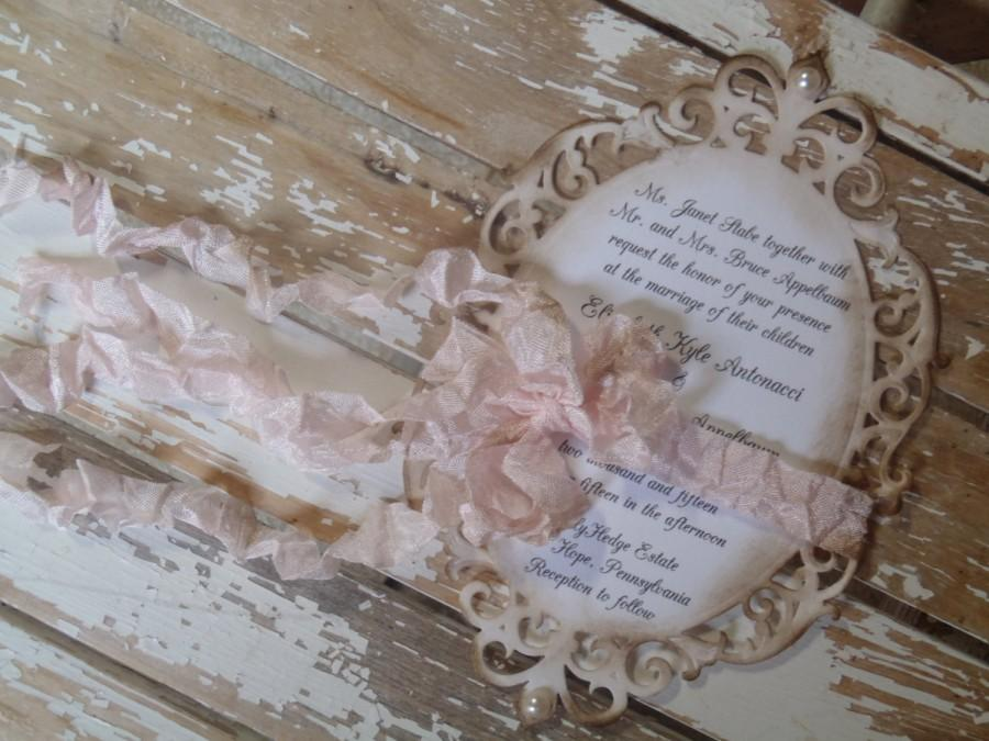 Blush Pink Romantic French Rustic Victorian Vintage Wedding Invitation Shabby Garden Bat Mitzvah Quinceanera Sweet Sixteen Shower
