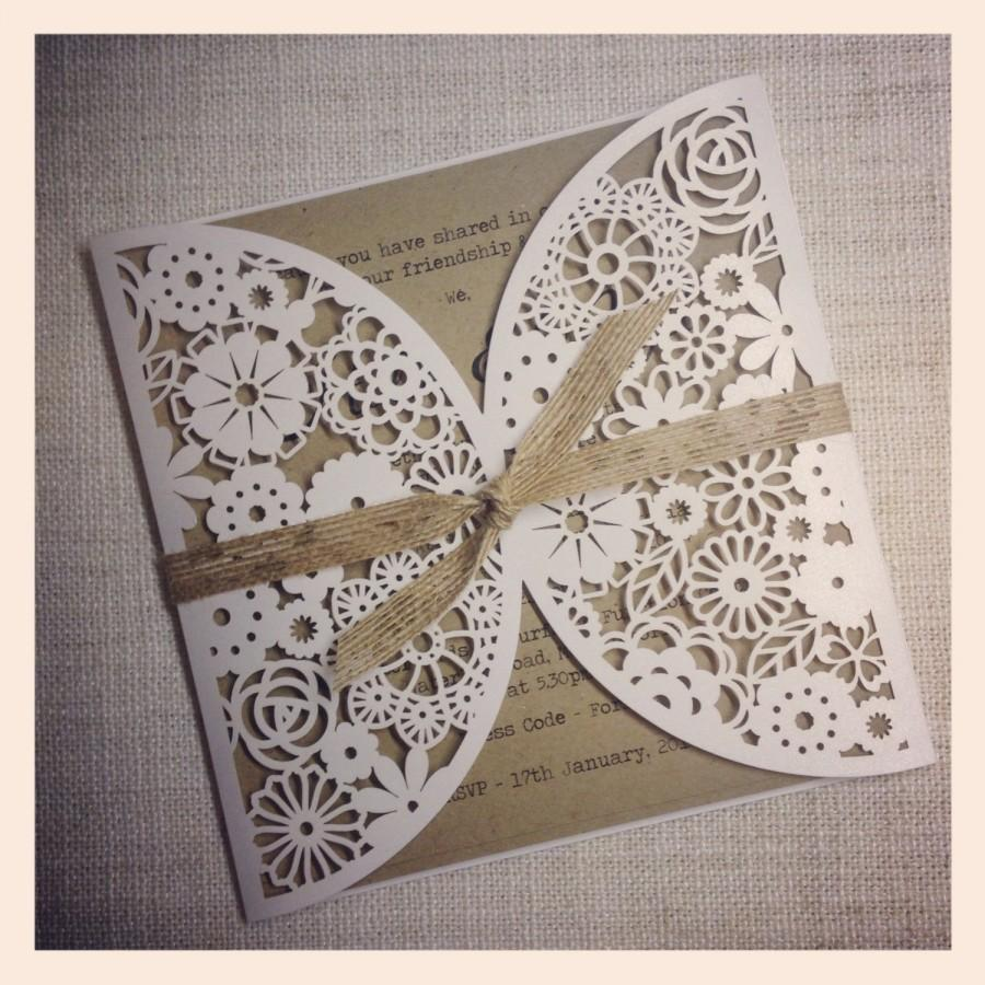 Düğün - Rustic Wedding Invitation - Laser Cut invitation SAMPLE