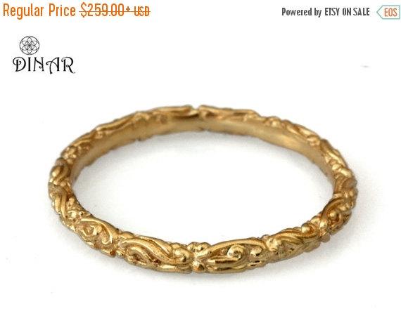 Gold Stack Ring Scrolls 18k Thin Wedding Band 14k Yellow Gold