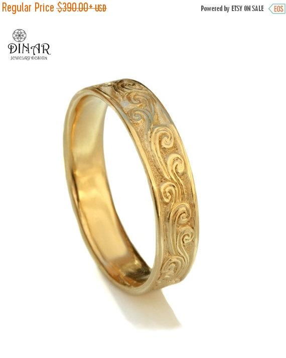 Scrolls Wedding Band 14k Yellow Gold Art Deco Wedding Ring