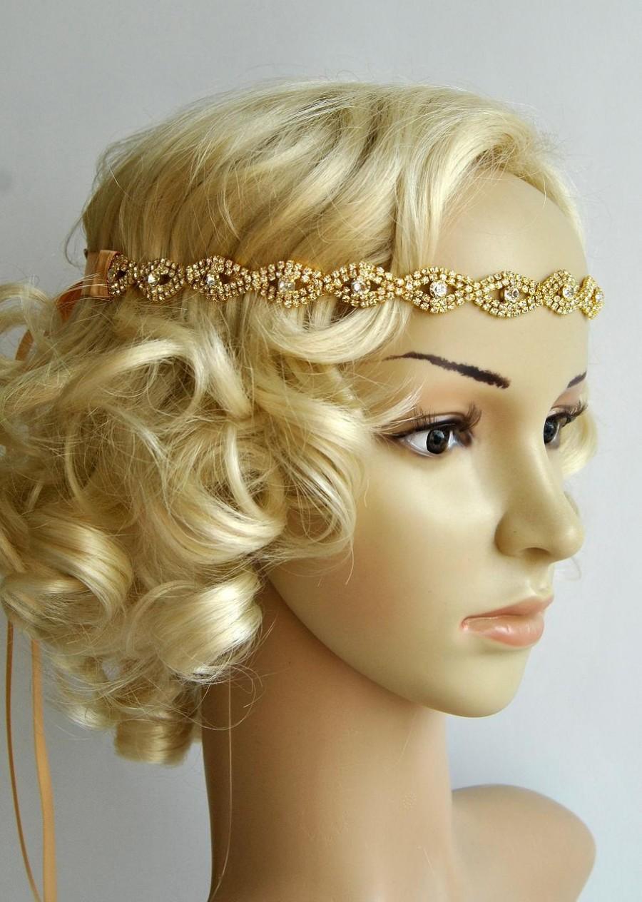 Gold Rhinestone Headband, Great Gatsby Headband, Crystal Headband ...