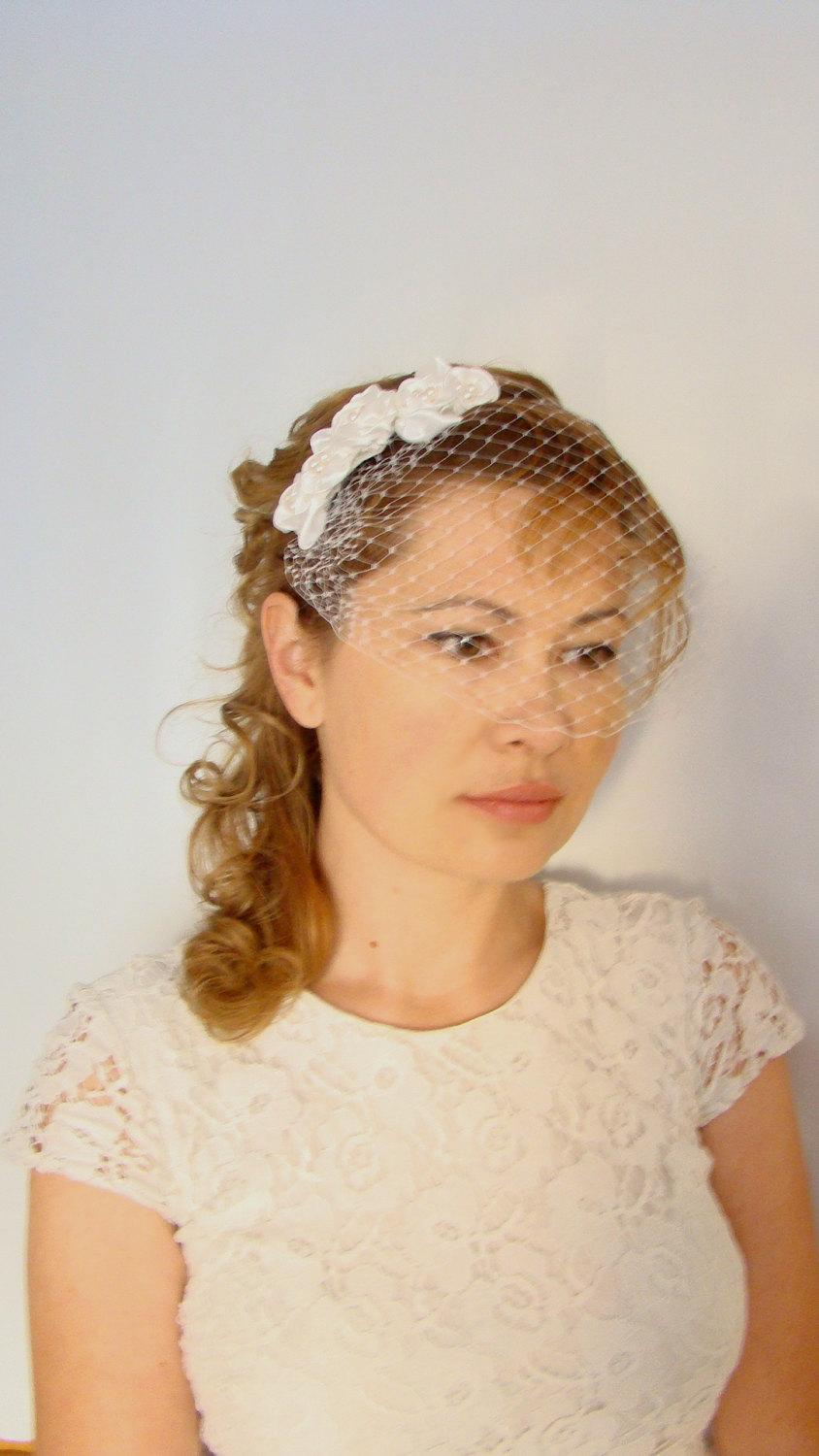 Ivory Veil Birdcage Headband Mini Wedding For Short Hair