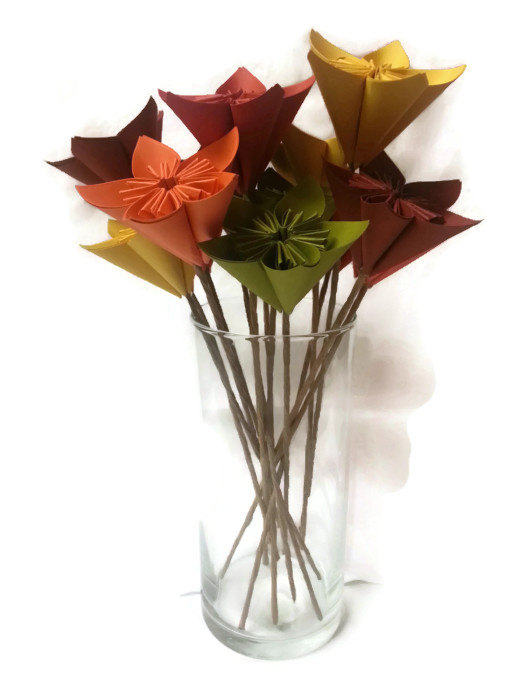 """Wedding - Bouquet """"The Harvest"""" / Fall / Autumn / Table Decor / Gift Origami Paper Flowers"""