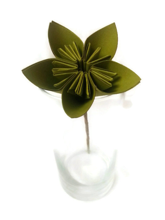 Mariage - SALE Granny Apple Green Kusudama Origami Paper Flower with Hay Stem