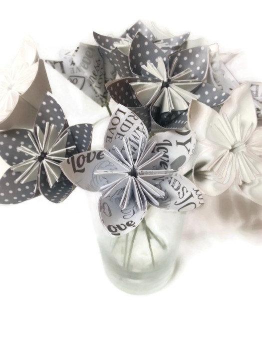 Bouquet weddings bride love ooak origami paper flowers with bouquet weddings bride love ooak origami paper flowers with green wire stems mightylinksfo