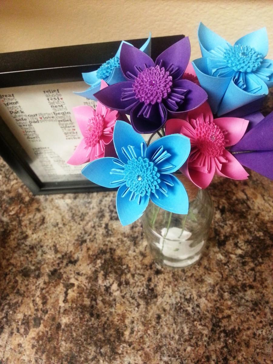 Origami Paper Flowers Wedding Bouquet Anniversary Bouquet