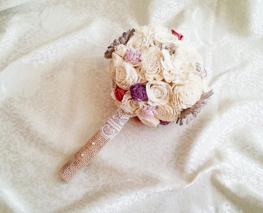 Mariage - SMALL cream brown rustic wedding BOUQUET Ivory and brown Flowers, sola roses, Burlap Handle, bridesmaid custom