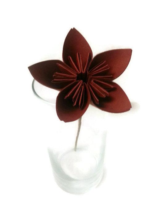 Mariage - SALE Dark Hay Stack Brown Kusudama Origami Paper Flower with Hay Stem