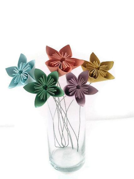 Mariage - Set of 5 with Free Domestic U.S. Ship - Kusudama Paper Origami Flower