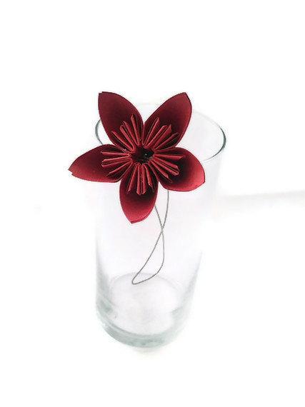 Mariage - Rockin Red Color Kusudama Origami Paper Flower with Stem