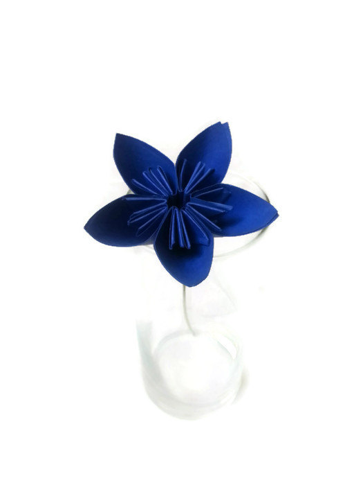 Mariage - Deep Bright Blue Kusudama Origami Paper Flower with Green Wire Stem