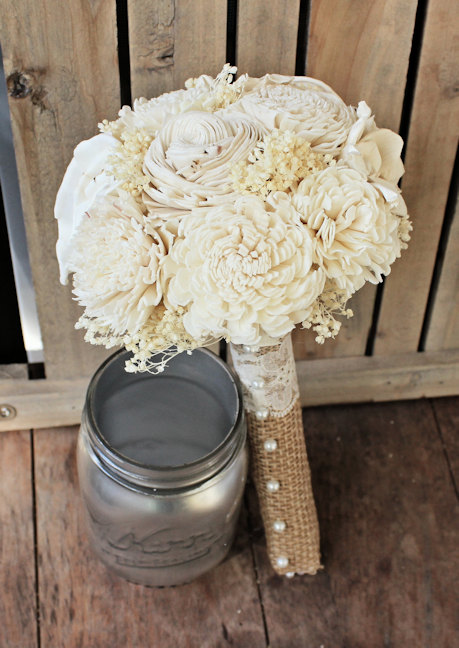 Свадьба - Custom Ivory Wedding Bouquet- Bridesmaid Bouquet, Toss Bouquet, Alternative Flower Bouquet, Keepsake Bouquet