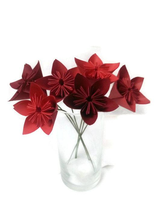 "Свадьба - Bouquet ""Ombre Reds"" OOAK Origami Paper Flowers - Free ship (domestic U.S.)!"
