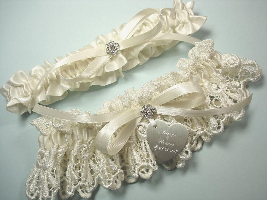 Garters Personalized Ivory Wedding Garter Set In Venise Lace With Personalized Engraving A