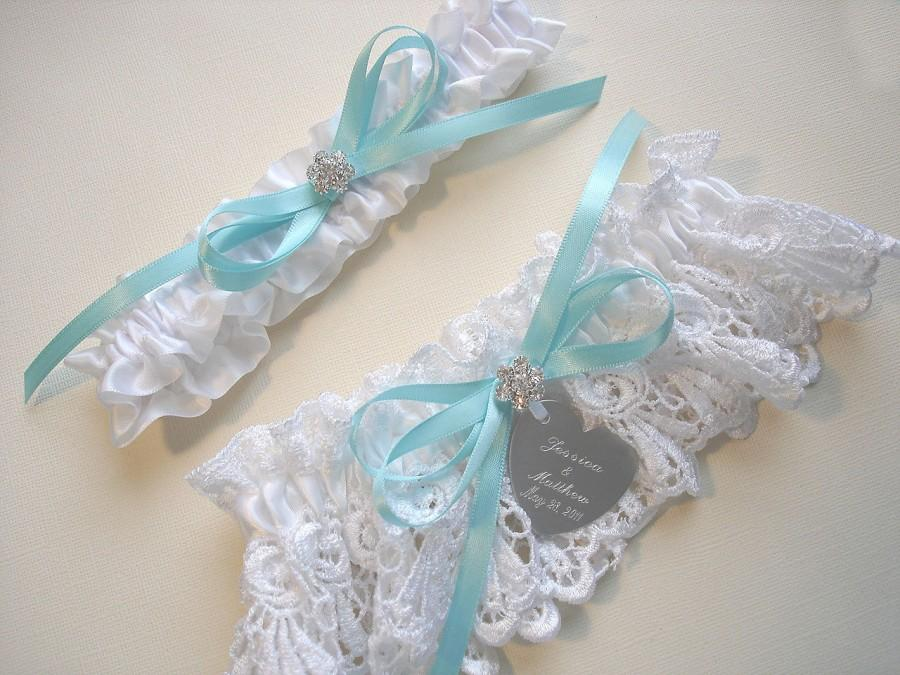 Hochzeit - Aqua / Robin's Egg Blue Garter Set in White Venise Lace with Personalized Engraving, a Bow and Rhinestones, Wedding Garters