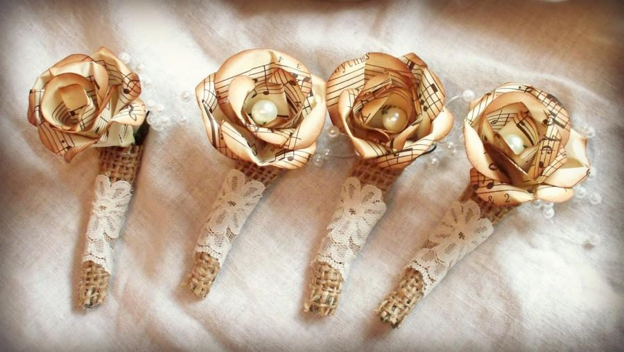 Свадьба - Pearl center, vintage music paper flower boutonniere.Sepia tones. Your choice of ribbon or other wrapping.