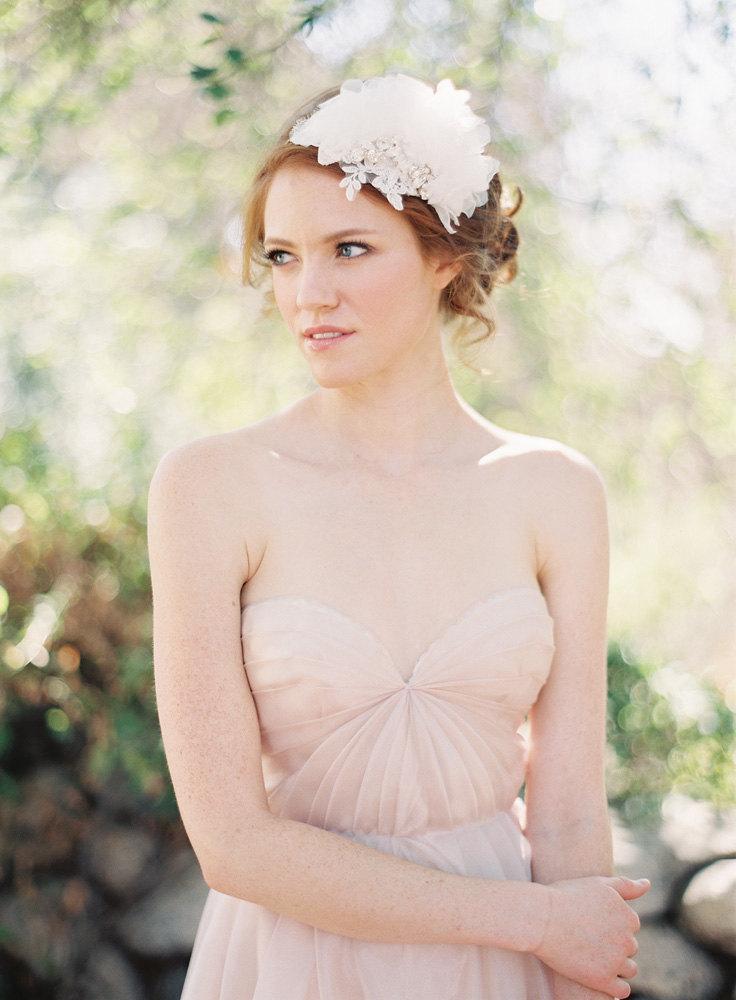 Wedding - Wedding Headpiece, Bridal Headpiece, Bridal Crown, Headband, Floral, Silk Flower, Rhinestones, Lace - Style 213