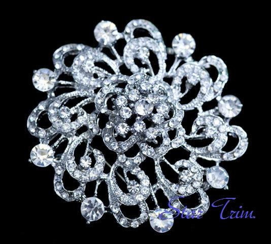 Wedding - SALE Bridal, vintage large flower rhinestone brooch, head piece