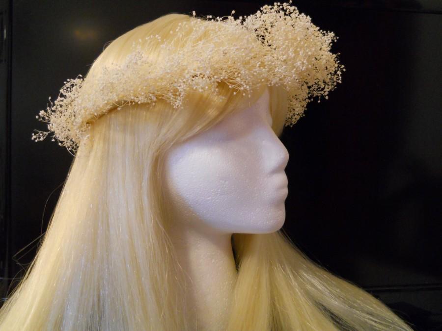 زفاف - Flower Crown, Head Wreath, Real Babies Breath, White Beige, Weddings, Bridal, Flower Girl Hair Piece Natural Tiara Woodland Dried Flowers