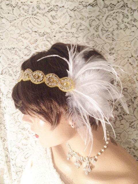Wedding - Rhinestone headband GATSBY HEADPIECE flapper headband bridal accessories Gold white feather 1920s headband flapper headpiece bridal headband