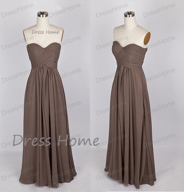 Brown Sweetheart Bridesmaid Dress Long/Chiffon Simple Bridesmaid ...