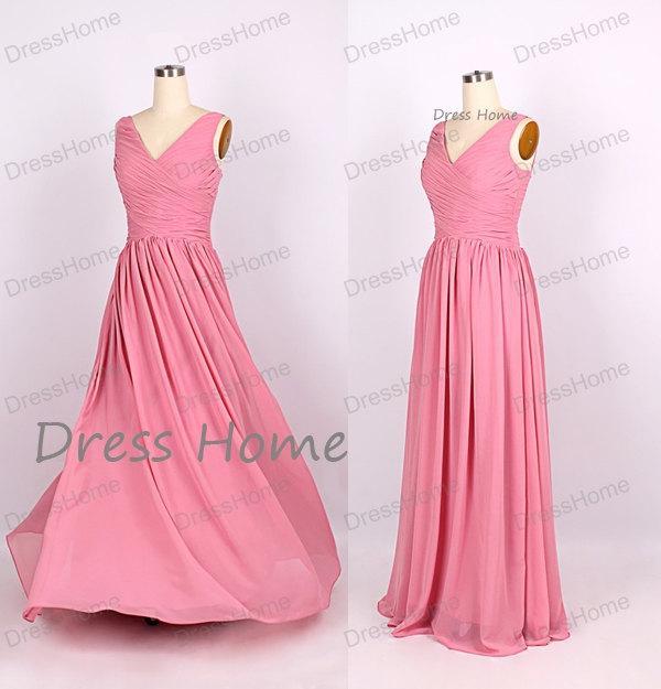 زفاف - Flowy V Neck Long Bridesmaid Dress/Cheap Bridesmaid Dresses /Sexy Prom Dress/Homecoming Dress/ Pink Prom Dress/Cheap Simple Dress DH166
