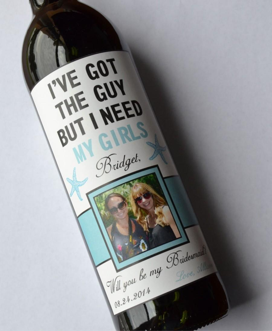 Свадьба - Custom Starfish Will you be my Bridesmaid Wine Label - Will you be my Bridesmaid - Personalized Label