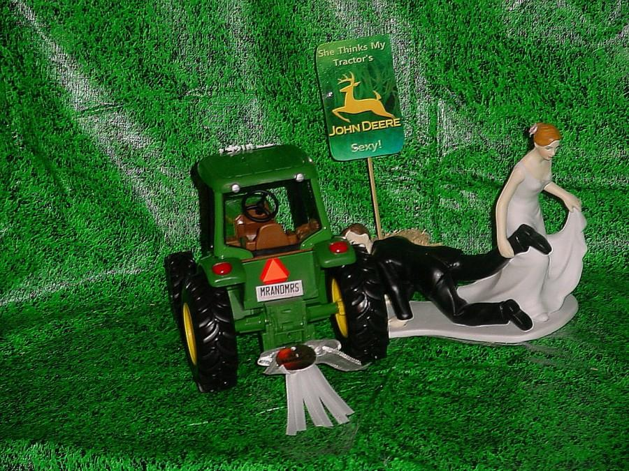 Свадьба - Country Farm Green Yellow JD Fun Wedding Cake Topper-Bride Pulling Groom to Altar She thinks my John Deere Tractor Sexy