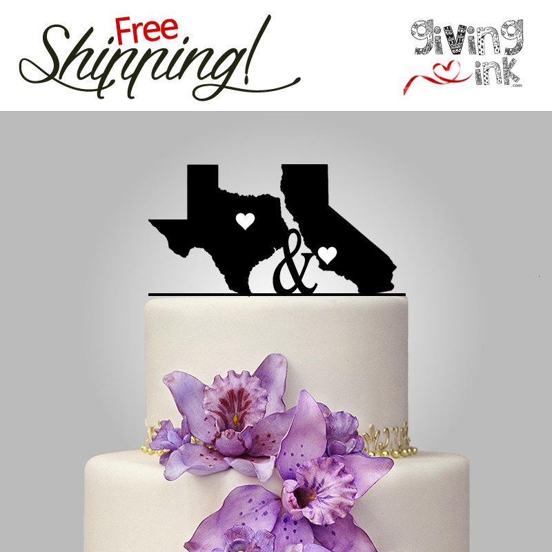 زفاف - Texas / California State Shaped Cake Topper State of the Art Wedding Cake Top