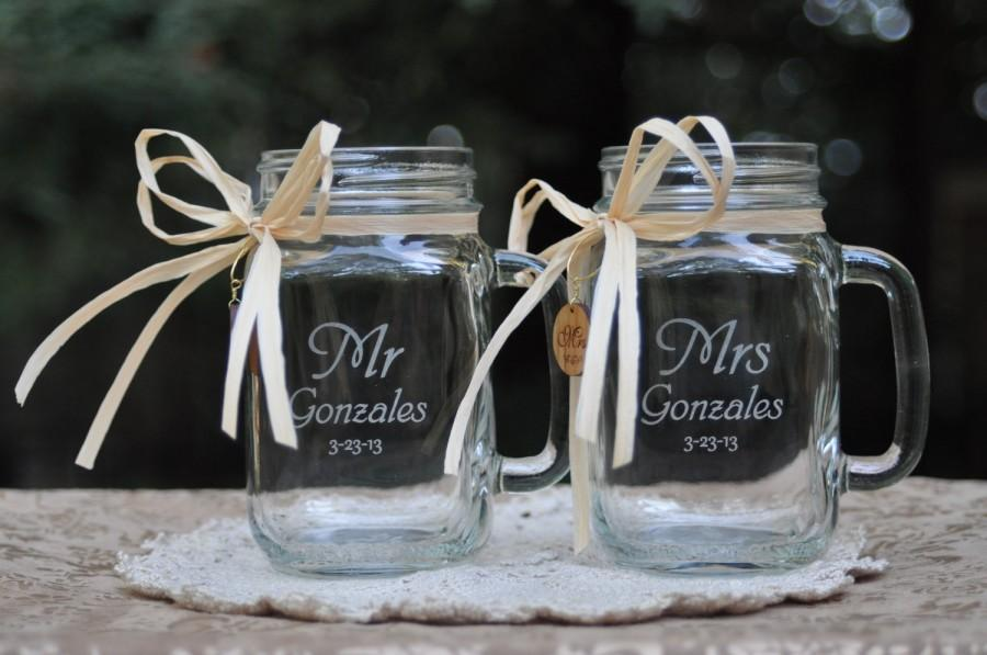 Свадьба - Mr and Mrs Mason Jar Mugs with wood charms.  Font and handle direction choices