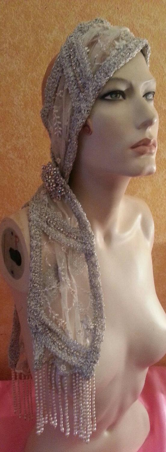 Свадьба - Vintage Glam Gatsby Flapper Downton Abbey 20's Style Waterfall Pearl & Sequin Silver Headwrap Headband Headpiece Wedding Bridal Costume