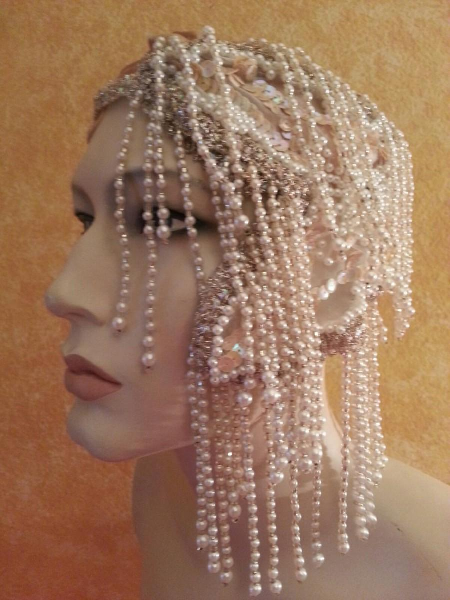 Mariage - Vintage Glam Gatsby Flapper Downton Abbey 20's Style Waterfall Pearl & Sequin Iridescent Silver Headband Headpiece Wedding Bridal Costume