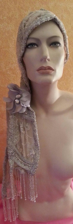 Mariage - Vintage Glam Gatsby Flapper Downton Abbey 20's Style Waterfall Pearl Sequin Silver flower Headwrap Headband Headpiece Wedding Bridal Costume
