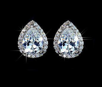 Vintage Teardrop Stud Earrings Clear Crystal White Gold Plated Post Earring Bridal
