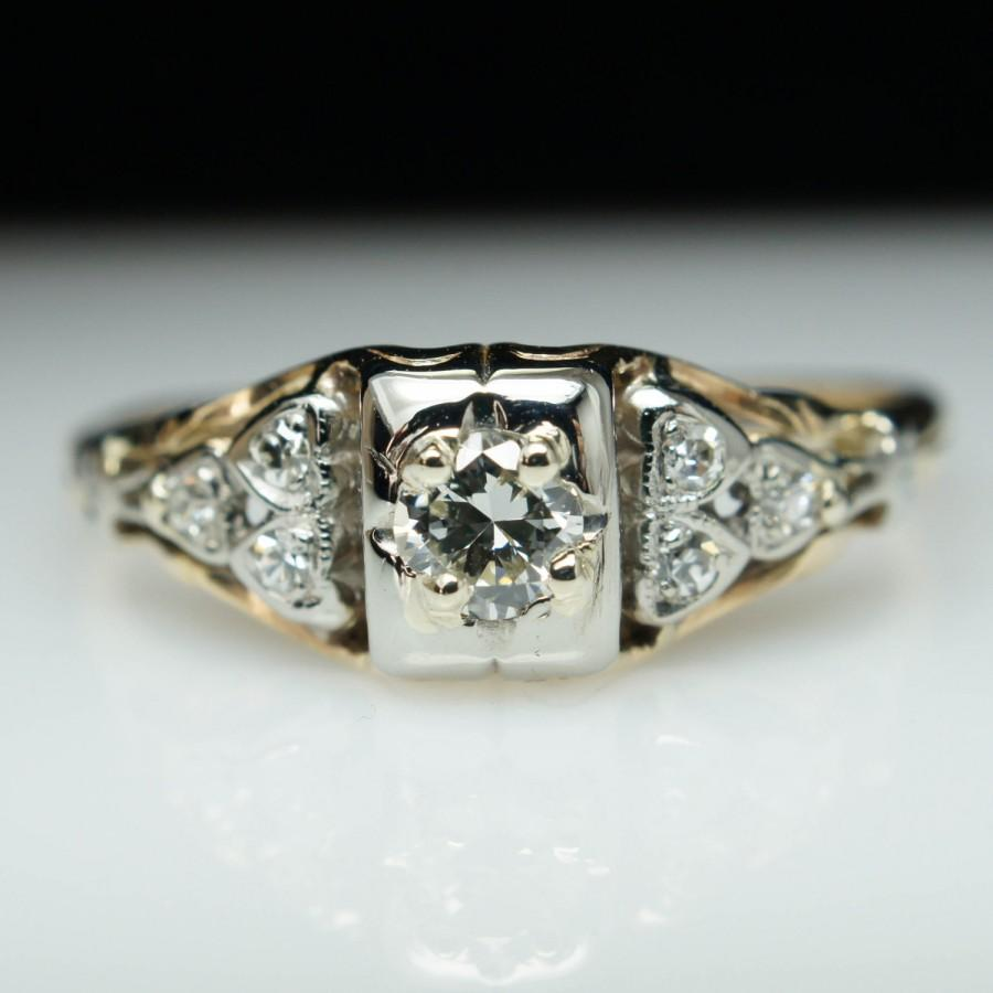 Mariage - Vintage Antique Art Deco .24ct Diamond Engagement Ring - 14k Yellow Gold - Size 7.5